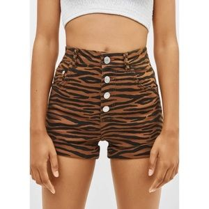 Animal Print High Waist Shorts